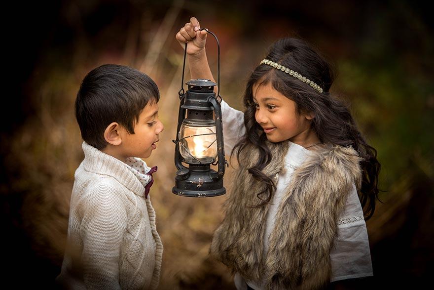 Sitaram Kids with Lantern
