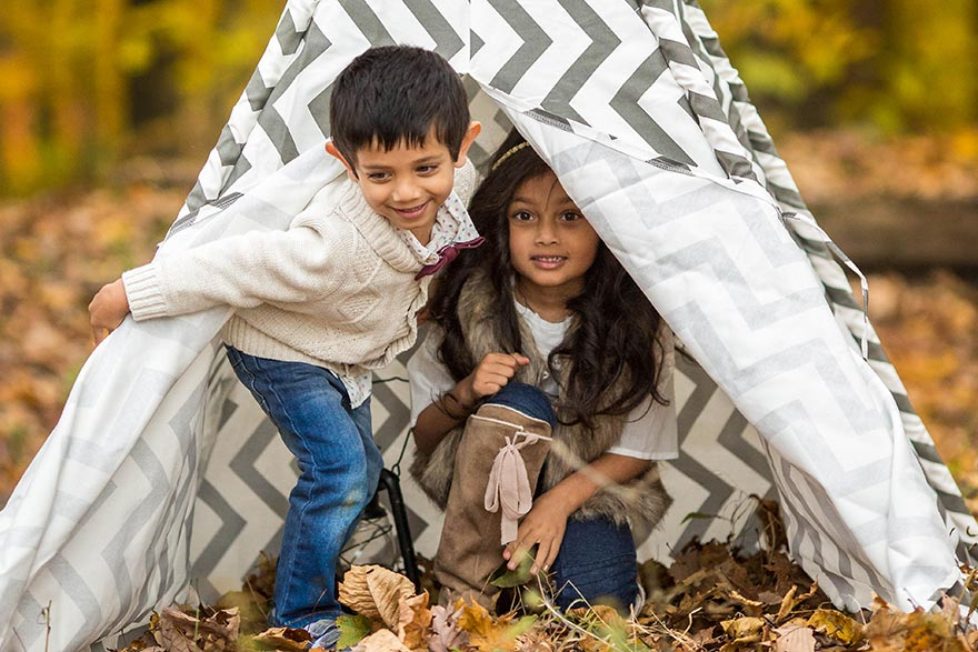 Sitaram kids playing in a tent